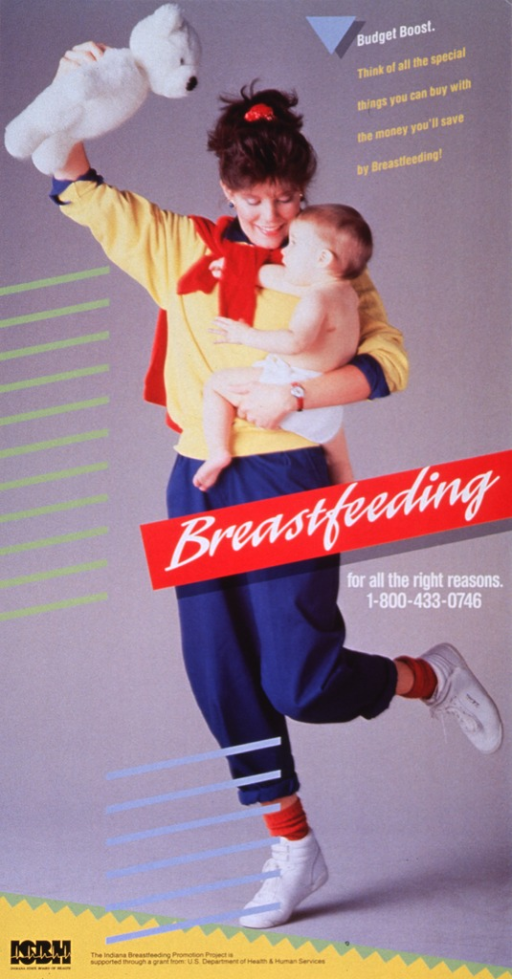 <p>Predominantly gray poster with multicolor lettering.  Caption in upper right corner.  Visual image is a reproduction of a color photo of a woman holding a baby.  The woman appears to be dancing and she is holding up a teddy bear to attract the baby's attention.  Title superimposed on photo near center of poster.  Publisher logo and sponsorship statement at bottom of poster.</p>