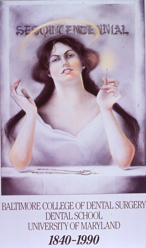 <p>Predominantly white poster with black lettering.  Initial title phrase near top of poster.  Visual image appears to be a reproduction of a color painting featuring St. Apollonia.  She has a halo above her head and she holds a burning candle.  A pair of pliers or pincers rests on a table in front of her, along with an extracted tooth.  The flame and pliers are symbols of her martyrdom, which involved having her teeth broken and then being given the choice of renouncing Christianity or being burned alive.  Remaining title text below image.  Publisher information in lower right corner.</p>