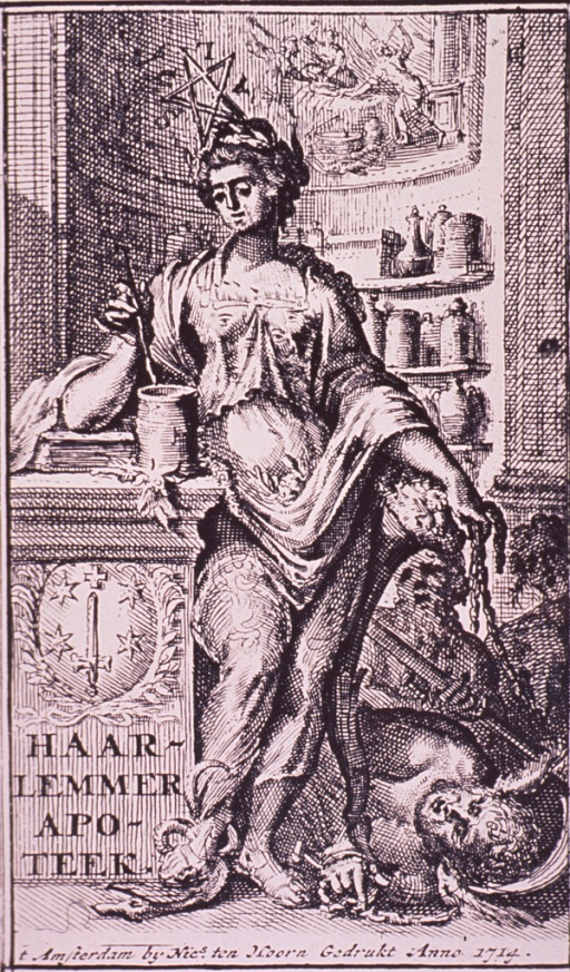 <p>Interior of a pharmacy with Hygeia standing full length.</p>