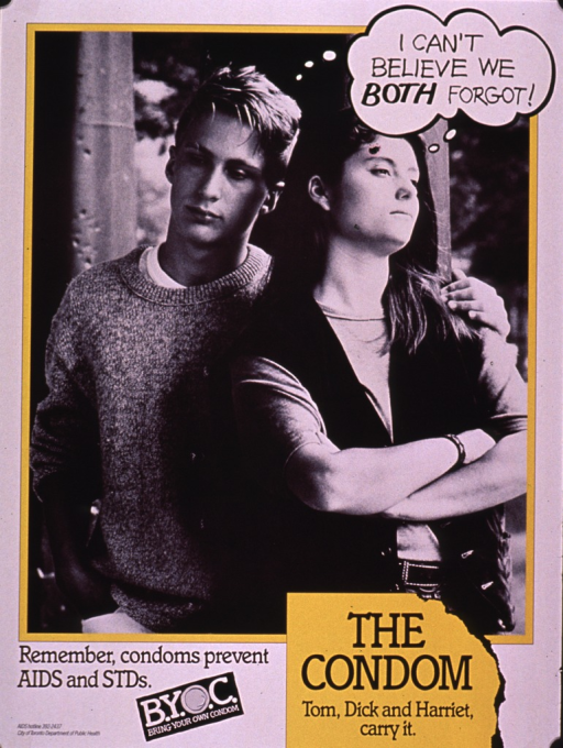 <p>Predominantly black and white poster with yellow highlights.  Title in upper right corner, presented as a thought bubble above the heads of a young male-female couple.  Visual image is a b&amp;w photo reproduction featuring the couple.  Caption and note below photo.  Publisher information in lower left corner.</p>