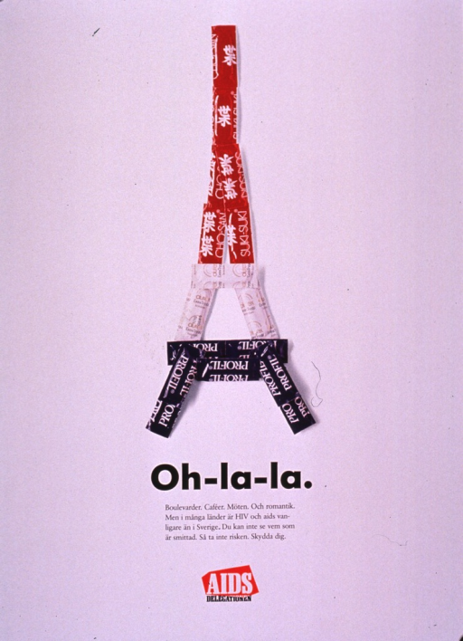 <p>Predominantly white poster with black and white lettering.  Visual image is a color photo featuring red, white, and blue condom wrappers arranged in the shape of the Eiffel Tower.  Title and caption below photo.  Caption notes the attractions of Paris and the possibility of romance.  It also states that rates of HIV infection are higher in many countries than in Sweden, that one cannot know if someone is infected; it further urges not to take risks but to protect oneself.  Publisher information at bottom of poster.</p>