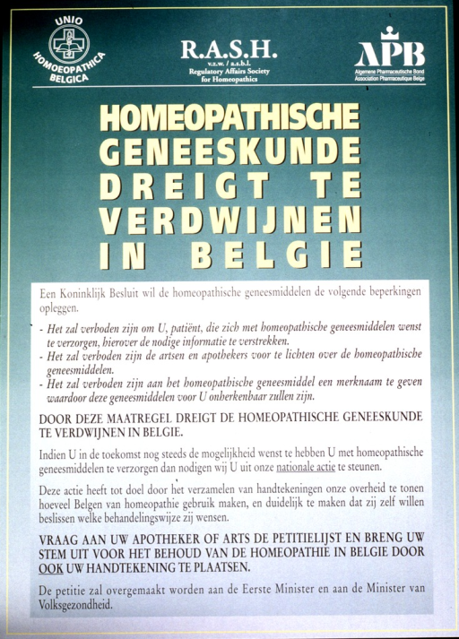 <p>Poster is chiefly text with the logo of the Unio Homoeopathica Belgica and another organization at the top.</p>