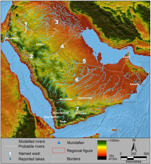 Palaeodrainage networks of Arabia.Key wadis are named, lakes discussed in the text located and labelled, and international borders area displayed by dashed lines. Drainage network data modeled through flow analyses (light blue) is superimposed upon SRTM V.4 elevation data [48], overlain upon Natural Earth 2 data for the oceanic regions. Interpreted channel connections potentially active during recent wet phases are marked in white. The red box outlines the region shown in figure 4. Major wadis are numbered: 1- Wadi as Sirhan, 2-Wadi al Hamd, 3- Euphrates and associated Widyan, 4-Wadi al Batin, 5-Wadi Sahba, 6- Wadi ad Dawasir, 7- Wadi Hadramawt.