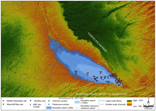 Newly discovered archaeological sites (by period) overlain upon the palaeohydrological reconstruction of the Mundafan area.With palaeolake section locations and inferred extent data from Rosenberg et al., [23]. Data is overlain upon Aster GDEM2 elevation data.