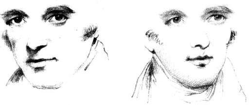 "Demonstration by Wollaston (From ""On the Apparent Direction of Eyes in a Portrait,"" by W. H. Wollaston, 1824, Philosophical Transactions of the Royal Society of London, 114, p. 256. In the public domain). From the drawing of a face oriented leftward with direct gaze (left), Wollaston produced another face by inserting the same eyes into a drawing of the same individual with his head oriented to the right (right). Although these two faces share identical eyes, the latter appears to be looking to the right of the viewer."