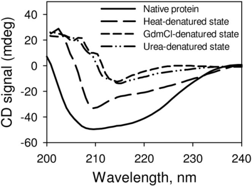 Secondary structural characteristic of various denatured states of RNase-A at pH 7.0.The GdmCl- and urea- induced denatured states were generated using 6.5 M GdmCl and 8.5 M urea respectively. The heat induced-denatured state was generated by incubating the protein at 85°C for 15 minutes.