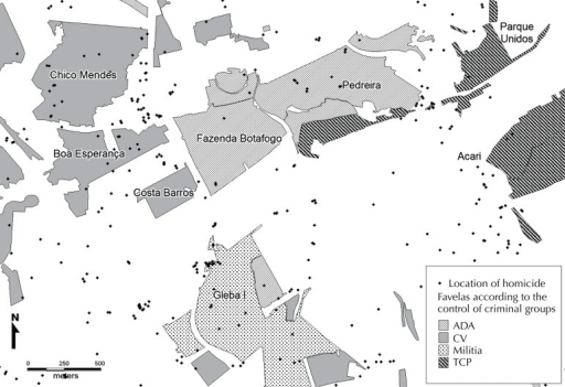 Total population resident in favelas according to the domination bytraffickers and militia.ADA: Amigos dos Amigos; CV: Comando Vermelho; TCP: Terceiro Comando Puro;UPP: Police Pacification Units Source: IBGE – Demographic census 2010 –areas surveyed within the scope of this research.