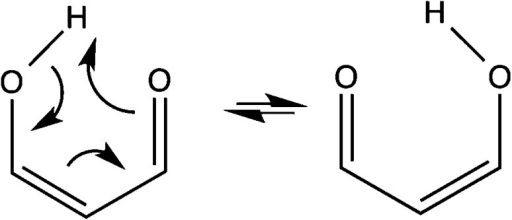 Reaction diagram for malonaldehyde tautomerization.Arrows indicatethe flow of electron pairs.