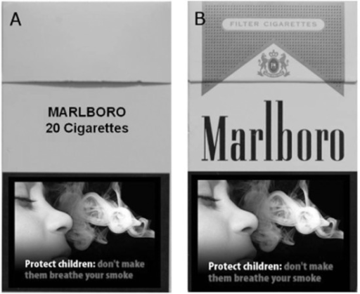 Examples of the cigarette pack stimuli presented on-screen prior to choice between the tobacco- versus chocolate-seeking response in the Pavlovian to instrumental transfer (PIT) test: (a) plain pack; (b) branded pack