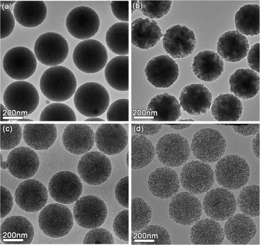 TEM images of the PSNs etched for different times. (a) 45 min, (b) 75 min, (c) 105 min, and (d)120 min.