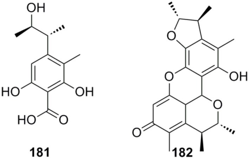 Chemical structures of compounds 181 and 182.