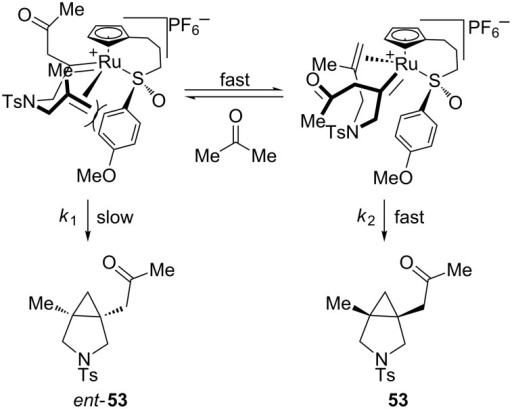 Curtin–Hammitt scenario of redox bicycloisomerization in acetone.