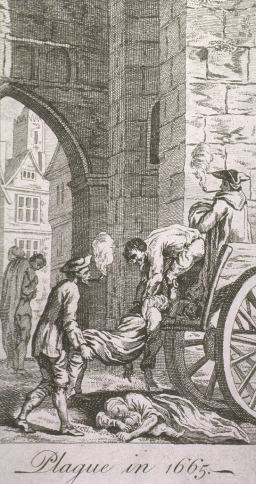 <p>The plague victims are being collected and loaded on a cart; two of the workmen are smoking pipes.</p>