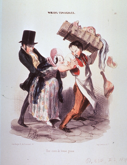 <p>A pregnant woman bites the arm of a man carrying a basket of meat.  Another man tries to pull her away.</p>