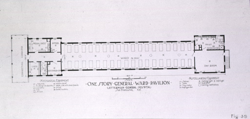 <p>Plan, one story general ward pavilion.</p>