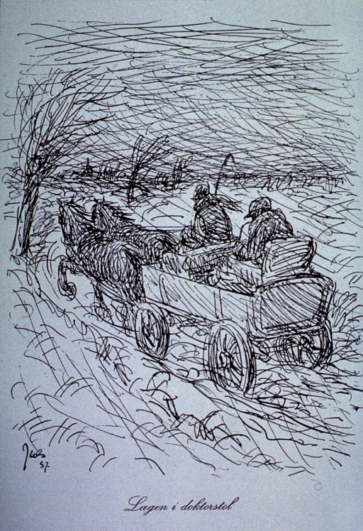 <p>A 19th c. scene of a doctor seated on a chair in the back of a wagon being driven by another man; they are on their way, through a storm, to see a patient.</p>
