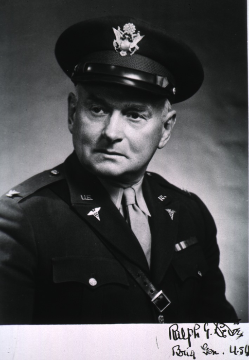 <p>Head and shoulders, right pose, head turned to left, wearing uniform (Brigadier General).</p>