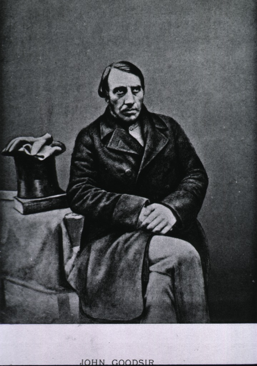 <p>Three-quarter length, seated, right pose, full face, hands together; wearing coat; top hat, gloves and book on table to the left.</p>
