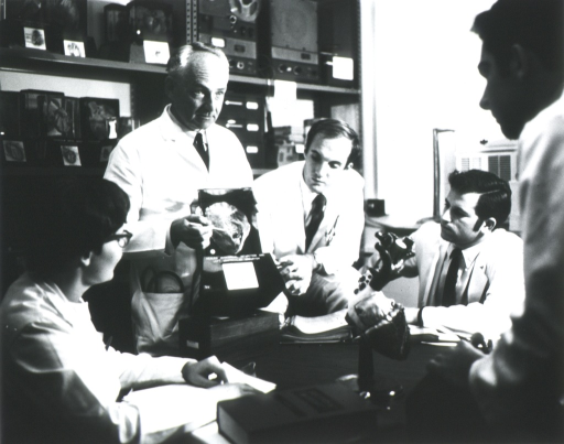 <p>Half-length, turned slightly to right, full face; wearing lab coat; standing; pointing to part of a heart specimen; a group watches; heart model in foreground.</p>