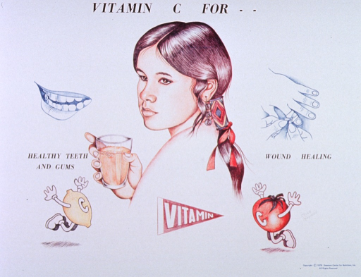 <p>White poster with black lettering.  Initial title words at top of poster.  Dominant visual image is a reproduction of a hand drawing of a Native American Indian girl holding a glass of what appears to be orange juice.  The girl is surrounded by smaller illustrations, including a smiling, slightly opened mouth and a hand being bandaged.  Remaining title words appear below these images.  The drawings at the bottom of the poster include a lemon and a tomato, both with arms and legs and bearing the letter &quot;C,&quot; plus a pennant with &quot;Vitamin&quot; on it.  Artist's signature near tomato.</p>