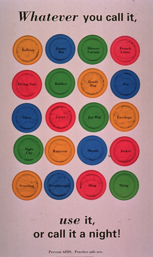 <p>Predominantly beige poster with black lettering.  Initial title phrase at top of poster.  Visual image is an array of 20 colorful condoms.  Each condom is labeled with a euphemism or slang term for condoms, such as balloon, jimmy hat, rubber, etc.  Remaining title text and note at bottom of poster.</p>