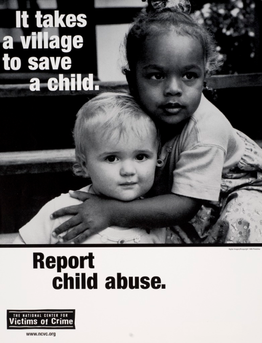 <p>Black and white poster with white and black lettering. Visual image is 2 children, one placing their arm across the other's chest. Title superimposed at top of poster. Note below image. Publisher information at bottom of poster.</p>