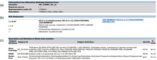 Screenshot of search results for the probe set Mtr.13998.1.S1_at in the Affymetrix Medicago Genome Array. This page shows: (a) information from the genome array, the database from which the sequence used to design this probe was taken, the accession number of a representative sequence and the associated description; (b) BIN assignment of the submitted probe set and its position in the hierarchy; (c) description and statistics of BLASTX best matches used to classify the probe set.