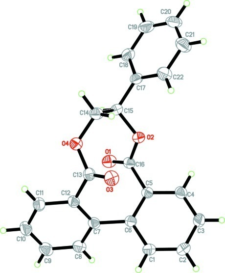 The molecular structure of the title compound showing 30% probability displacement ellipsoids for non-H atoms.