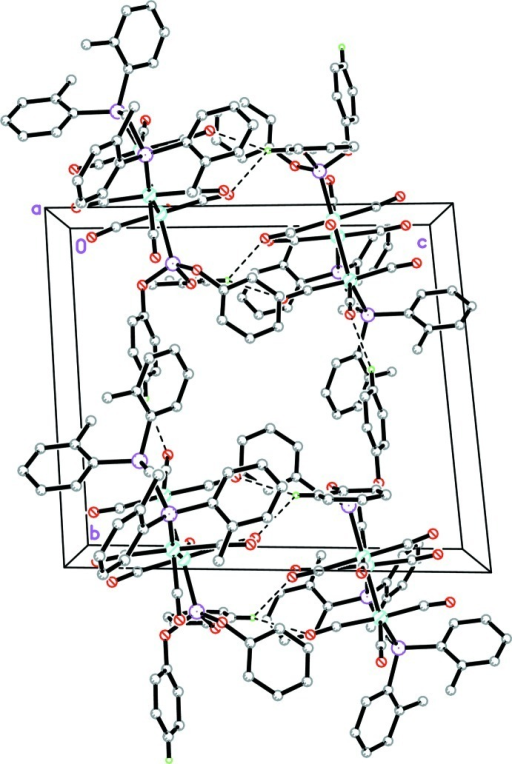 The crystal structure of the title compound, viewed along the a axis. H atoms and solvents molecules not involved in hydrogen bonds (dashed lines) have been omitted for clarity.