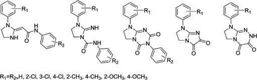 Antinociceptive compounds following the non-classical opioid receptor pharmacophore models. All the series have been reported with the given set of substituents