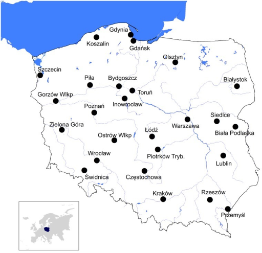 Location of the study areas.Location of the 26 paired areas used to study winter differences in birds between rural and urban environments in Poland.