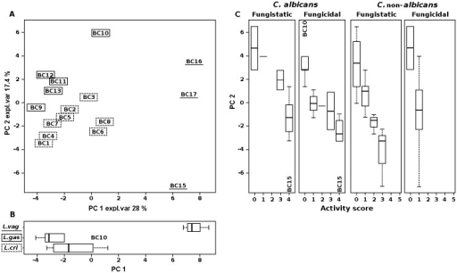 Correlation between metabolome of lactobacilli and fungistatic/fungicidal activity towards C. albicans and C. non-albicans.(A) Biplot of a PCA performed on the total metabolites identified by 1H-NMR in Lactobacillus cell free supernatants. Expl. Var, explained variance. (B) Box plots representing the distribution of Lactobacillus species in relation to the metabolome. Lines within the boxes indicate the median values of the samples groups corresponding to L. crispatus, L. gasseri and L. vaginalis species. (C) Box plots representing the distribution of fungistatic/fungicidal activity scores towards C. albicans and C. non-albicans in relation to the metabolome. Lines within the boxes indicate the median values of the samples groups corresponding to the different activity scores (0–4 for C. albicans; 0–5 for C. non-albicans). Each box represents the interquartile range (25–75th percentile). The bottom and top bars indicate the 10th and 90th percentiles, respectively. Outlier values are indicated (BC10 and BC15).