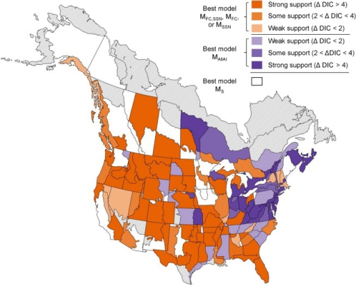 Geographic Distribution of the Relative Support for 5 models Testing Shared Population Trend Changes among North American Aerial Insectivores.These models include a common group change point for all aerial insectivore species (strata in shades of purple, best model MallAI), separate group change points for flycatchers (FC) and swallows, swifts, and nightjars (SSN; strata in shades of orange, best model one of MFC,SSN, MFC, or MSSN), or no group change point (strata in white, best model MS). Intensity of the purple or orange reflects the relative support for the best model over the next best model represented by another colour (e.g., the best model in the dark orange coloured strata has DIC at least 4 units less than the DIC for either MAllAI or MS).