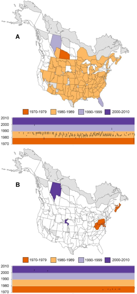 Timing of Well-Supported, Negative (A) and Positive (B) Change Points in Population Trends that are Shared across North American Swallows, Swifts, and Nightjars.Timings were estimated separately within each of the geographic strata; strata are coloured based on the year that had the highest posterior probability of including a change point. The plots below the maps show the years with highest probability (points) as well as adjacent years that also had relatively high posterior probability of including the change point (error bars, years with posterior:prior odds ratio > 3). In the plots, the strata are sorted from west to east based on the longitude of their centroid, and coloured regions reflect the decadal colours used in the maps. Strata coloured grey were not modeled due to insufficient data. Strata in white had no well-supported change points (either positive or negative).
