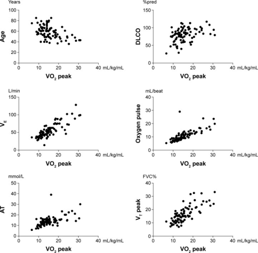 VO2 peak correlations with clinical, functional, and cardiopulmonary test parameters in 83 patients with sarcoidosis.Note:P<0.001 for all comparisons.Abbreviations: FVC%, percent forced vital capacity; %pred, percent predicted; AT, anaerobic threshold; DLCO, diffusing capacity of the lung for carbon monoxide; VE, minute ventilation; VO2 peak, peak oxygen consumption; VT, tidal volume.