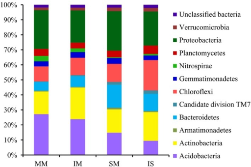 Relative abundance of bacterial phyla for each soil library. MM, mulberry monoculture; IM, intercropping mulberry; SM, soybean monoculture; IS, intercropping soybean.