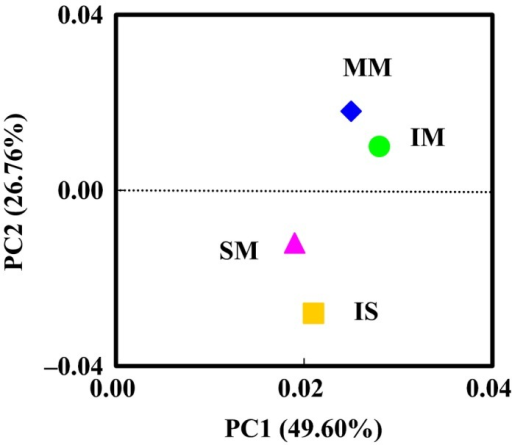 Principal component analysis (PCA) of bacterial communities from mulberry monoculture (MM), intercropping mulberry (IM), soybean monoculture (SM), and intercropping soybean (IS) based on pyrosequencing of the 16S rDNA gene. PCA were generated using the presence of each OUT (at a distance level of 3%) found in each clone library. Principal components (PCs) 1 and 2 explained 49.60% and 26.76% of the variance respectively.