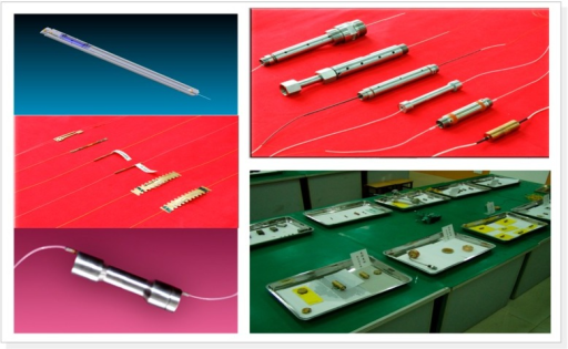 Series of FBG sensors, including strain sensors, high temperature sensors, high pressure sensors, and accelerometers.