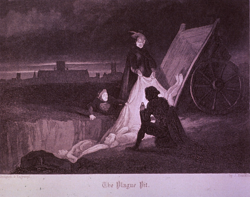 <p>A mass burial of plague victims is in progress under the cover of darkness; the bodies are being dumped from a two-wheeled cart into a large hole.</p>