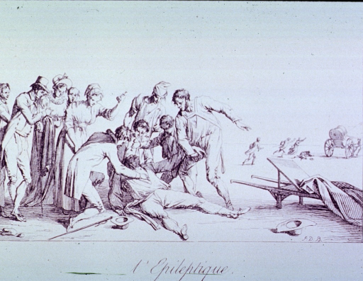 <p>A man having an epileptic seizure is being attended to by several men and women; a stretcher in on the ground to the right; in the background several people are running after a horse and buggy.</p>