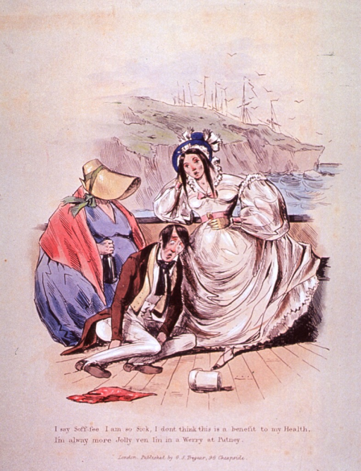 <p>A man is slumped on the deck of a ship and his two female friends are hanging on the railing.  An empty tankard is at the man's feet and one woman is holding a bottle.  They are suffering the effects of seasickness and alcohol consumption.</p>