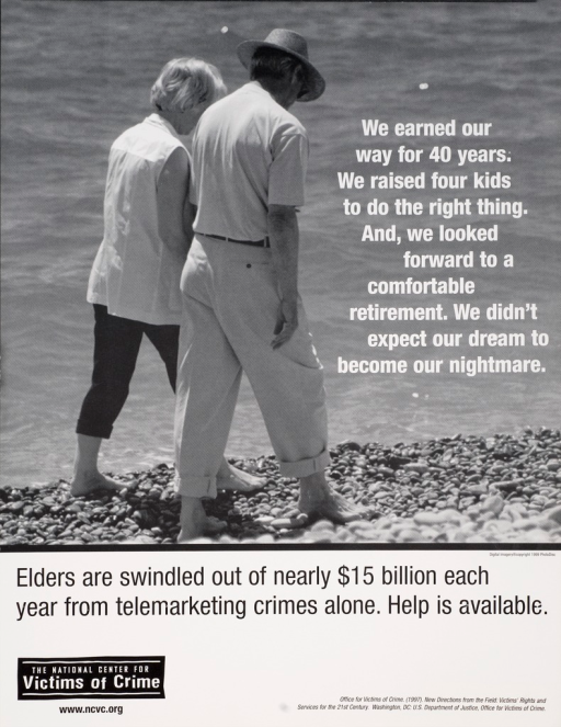 <p>Black and white poster with white and black lettering. Visual image is an eldrely couple walking on the beach.</p>