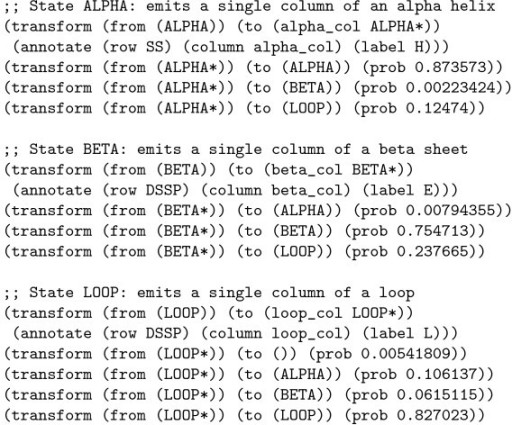 An excerpt from an xgram-format grammar reproducing the protein secondary structure phylo-HMM of Goldman, Thorne and Jones. This excerpt shows only the transformation rules, and omits the alphabet and chain definitions. Three separate Markov chains for amino acid substitution are used (and are assumed to be defined elsewhere in the file): alpha_col denotes an amino acid in an alpha helix (annotated with character H), beta_col denotes an amino acid in a beta sheet (annotated with character E) and loop_col denotes an amino acid in a loop region (annotated with character L).