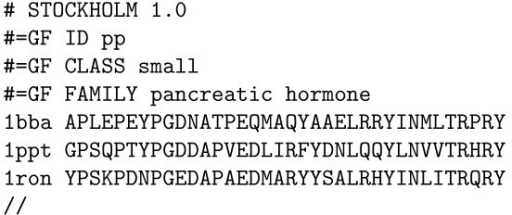 Example Stockholm-format input file for the protein secondary structure grammar (see figure 4). The alignment is of the pancreatic hormone family.