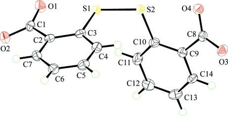 Molecular structure of the anion in (I) showing displacement ellipsoids at the 70% probability level.