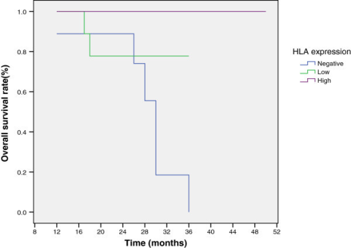 Kaplan-Meier overall survival curve in relation to immunohistochemistry scores for HLA class I.