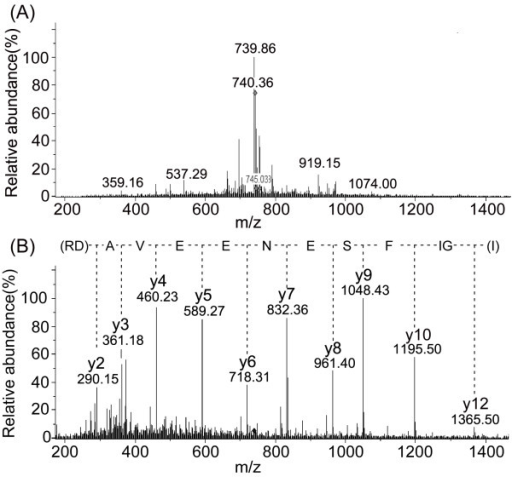 typical ms and ms ms spectra of a peptide that was used open i