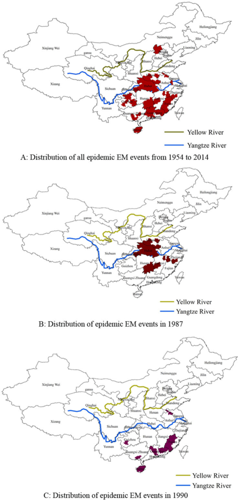 The distribution of epidemic EM events in China.Note: These maps were generated by ArcMap 9.3 software (Environmental Systems Research Institute, Redlands, USA).