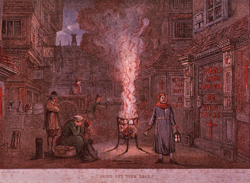 <p>A medieval street scene with a town crier and a two-wheeled cart making the rounds and collecting the bodies of plague victims; a few people have gathered around a small fire for warmth.</p>