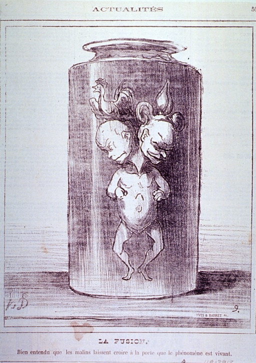 <p>A two headed monster, representing republican and monarchical France, is displayed in a specimen jar.</p>